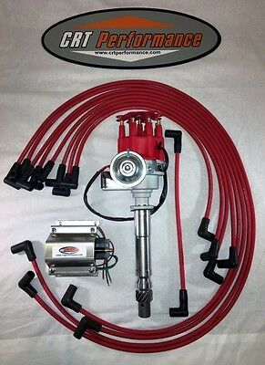 SB Chevy SBC Small Cap H.E.I HEI Distributor Kit W/ Plug Wires & 50K E-Core Coil