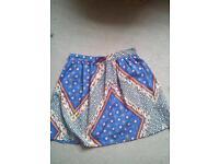 Aztec silk skirt,size8