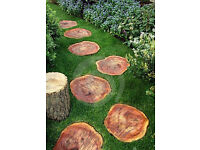 Log Stepping Stones - Set of 12 Real Wood Log Slice Stepping Stones.