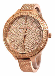 NIB Michael Kors MK3251 RUNWAY Slim ALL GLITZ Rose Gold WATCH Bangle 43mm
