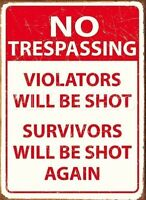 No Trespassing, Violators Will Debe Shot Aviso Divertido Danger Regalo -  - ebay.es