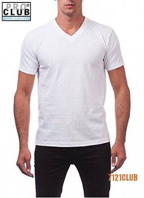Plain White V-neck - LOT 3 PACK PRO CLUB V NECK T SHIRTS WHITE ProClub Men's Plain Big and Tall S-7XL