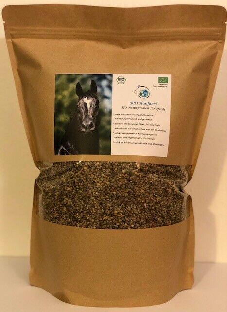 Bio Hanfkorn für Pferde, schonend getrocknete und gereinigte Bio Hanfsamen, 2 kg