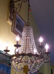 2 GORGEOUS VINTAGE BRASS &  GENUINE CRYSTAL HANGING CHANDELIERS