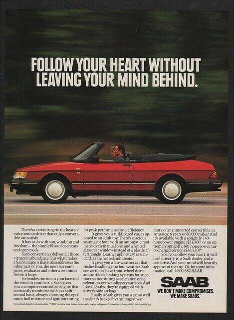 1992 Red SAAB Convertible Sports Car VINTAGE AD