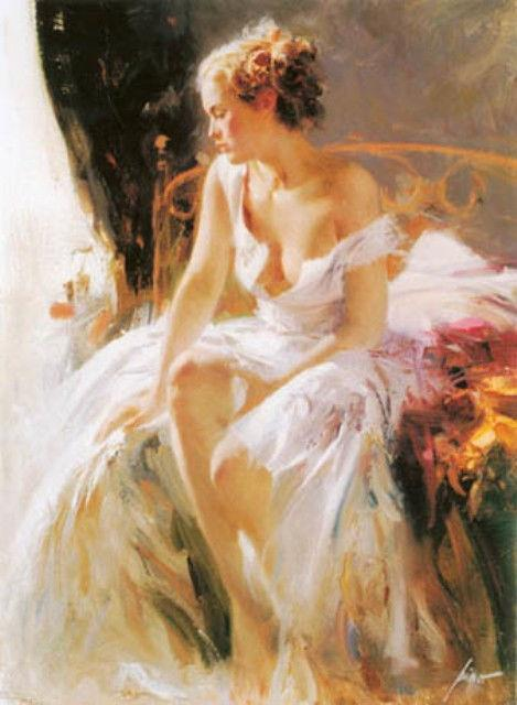 """Pino """"Morning Breeze"""" Beautiful Lady Sold out Embellished Giclee Canvas Hand S#"""