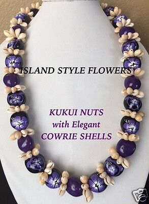 Hawaii Wedding Kukui Nut Lei w/ Cowrie Shell Graduation Luau Necklace-Purple
