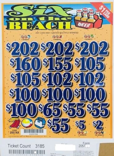 """Pull Tab Ticket """"SIX ON THE BEACH"""" $795.00 - GREAT $$ PROFIT - FREE Shipping!"""