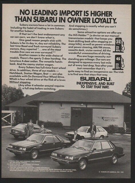 1982 SUBARU Station Wagon - Hatchback - BRAT -  VINTAGE AD