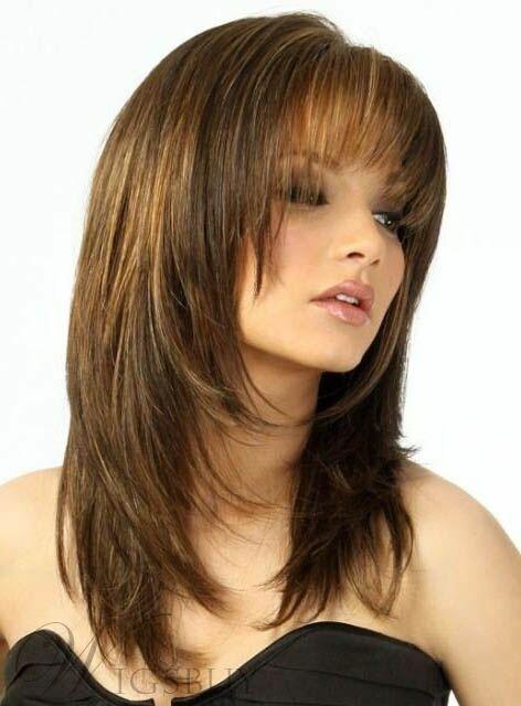 Shoulder Length Medium Length Layered Straight Hair 82