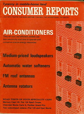 1973 Consumer Reports: Air-Conditioners -Medium Priced Speakers -Water Softners
