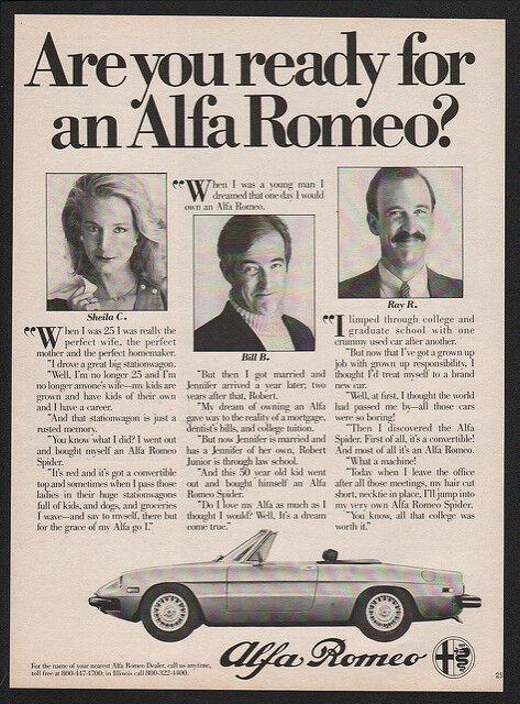 1980 ALFA ROMEO Convertible Sports Car VINTAGE ADVERTISEMENT