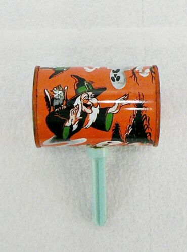 VINTAGE HALLOWEEN NOISE MAKER WITH PLASTIC HANDLE WITCH & GHOST
