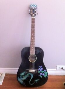 Small(ish) black bodied acoustic guitar, handpainted