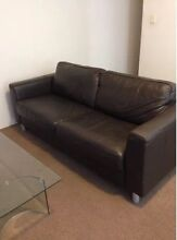 3 SEATHER DARK BROWN LEATHER SOFA Prestons Liverpool Area Preview