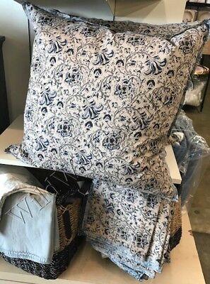 Pottery Barn Avi Pillow Cover 24 Floral Taupe Blue Kalamkari Block Print Stormi Taupe Square Pillow