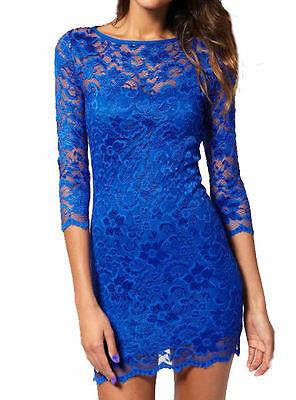 ROYAL BLUE  LACE DRESS JOHN ZACK SLASH NECK