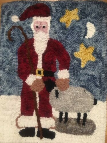 Primitive rug hooking kit, Santa with Sheep, Christmas, gift, linen, wool