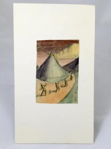 Hannes Bok Original Art - Exceptional 1931 Pencil and Watercolor Scene