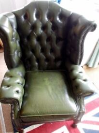 Chesterfield type leather armchair vintage retro 80's