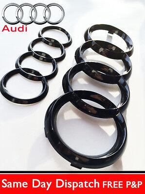 AUDI MK2 TT GLOSS BLACK REAR & FRONT RINGS BADGE EMBLEMS BONNET BOOT