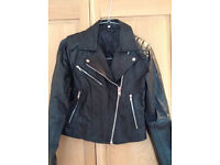 """Women's real leather biker jacket - in the style of Kate Moss - UK 12/14 Chest 37/38"""""""
