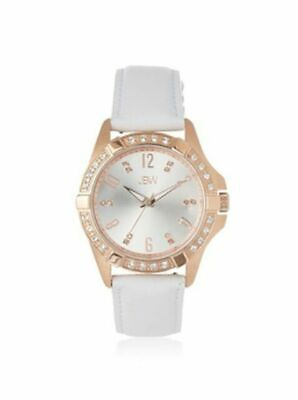 New JBW J6278D Womens Watch Gold SS Dial White Leather Band Diamond Accents
