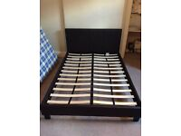 Faux brown leather bed plus mattress