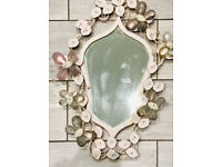 Vintage Metal Flower and Butterfly Detail Framed Mirror