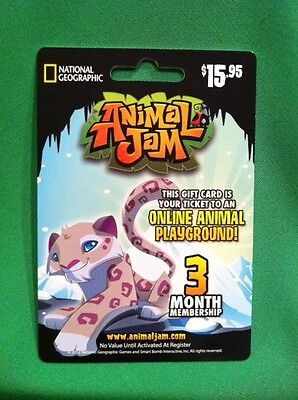 ANIMAL JAM 3 Month Membership Prepaid Game Card SNOW LEOPARD National Geographic on Rummage