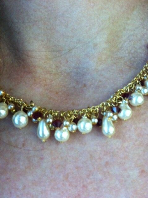 LEE ANGEL Freshwater White Pearl + Red Garnet Gold Necklace Chain Choker NEW