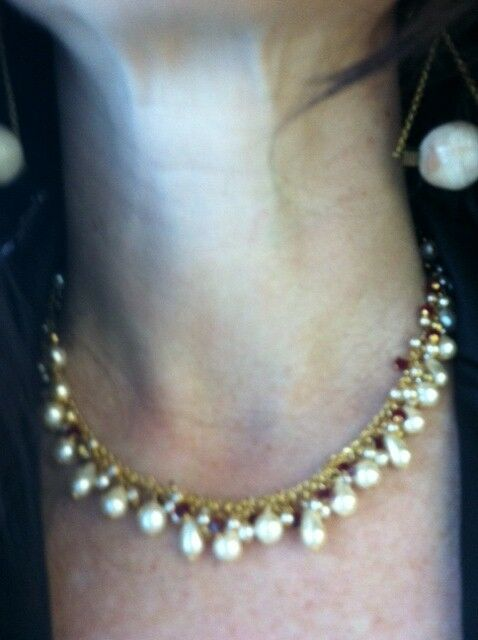 LEE ANGEL Freshwater White Pearl + Red Garnet 14K Gold Necklace Chain Choker NEW