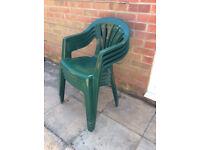 Stacking Dark Green Plastic Garden Chairs - set of four