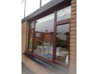 13 PVC Windows, various sizes, rosewood woodgrain.