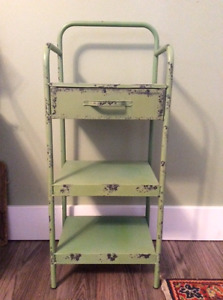 Vintage tin stand with drawer