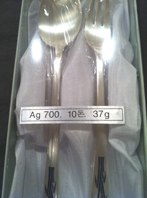 SILVER .700%  SPOON AND FORK SET MADE IN KOREA BRAND NEW
