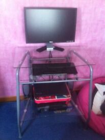 CLEAR GLASS AND METAL COMPUTER DESK - PRICE LOWERED TO £30 FOR QUICK SALE