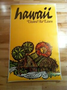 Vintage Travel Poster United Airlines Hawaii 1967 POLYNESIAN HUT