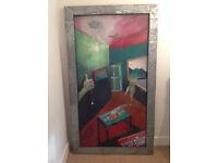 Large Original Signed Glenn Puster Metal Framed Painting