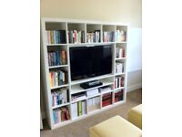 White IKEA wall mount book shelf + TV space
