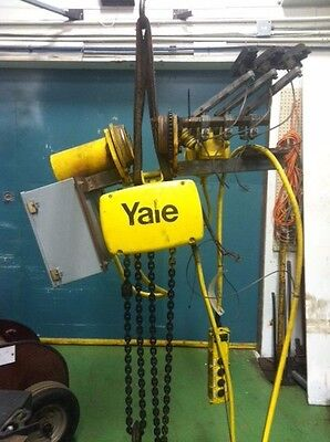 (#558) 2 Ton Yale Electric Chain Hoist - 10'lift, 16 FPM, Motorized Trolley, 3ph