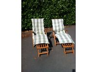 Pair of Steamer Chairs with Cushions