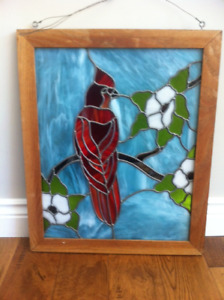 Leaded Stained Glass Window Hanging Picture with frame