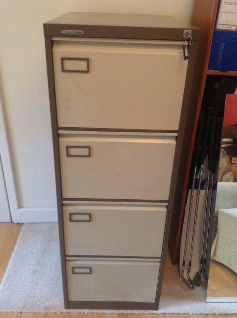 VICKERS Metal 4 Drawer Filing Cabinet - With 1 Key - Cream and Beige - Collect from Guildford GU1