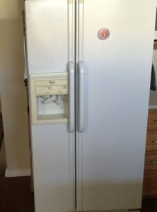 Whirlpool side by side fridge, ice maker and water dispenser