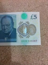 The new five pound notes rare