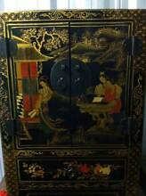 Chinese Black lacquer Bedsides x 2 and 1 x Trunk Cammeray North Sydney Area Preview