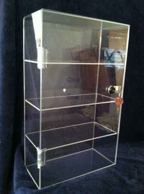 Clear Acrylic Counter Display Case Locking Cabinet with SHELF OPTIONS