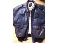 Mens AVIREX Leather Flight Bomber Jacket