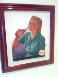 Antique 1950s Original Red Rock Cola Sign - Framed